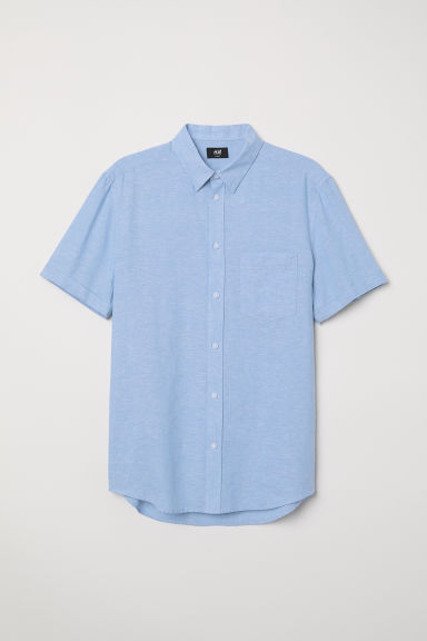 Linen-blend shirt Slim fit - Light blue - Men | H&M
