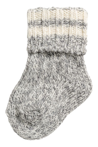 Thick wool-blend socks - Grey marl - Kids | H&M CN