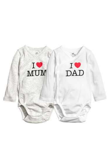 2-pack wrapover bodysuits - Light grey/White -  | H&M