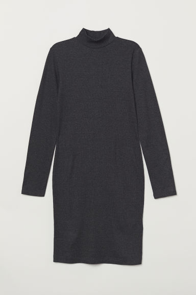 Turtleneck dress - Dark grey marl - Ladies | H&M CN
