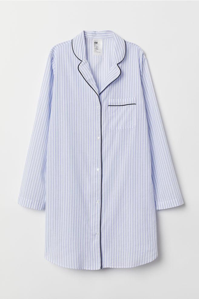 94b650dc Nattskjorte i bomull - Lys blå/Hvit stripet - DAME   H&M ...
