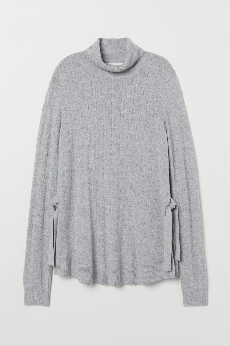 MAMA Knitted nursing jumper - Light grey marl - Ladies | H&M