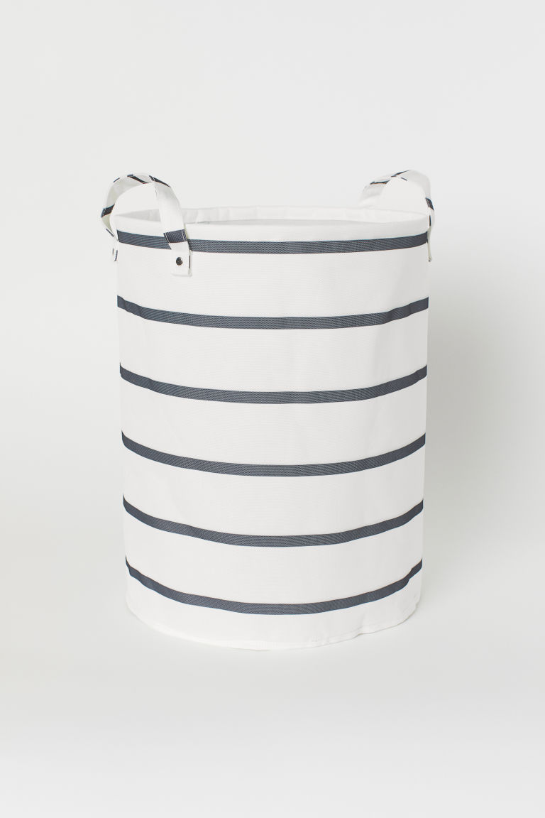 Storage basket - White/Grey striped -  | H&M CN