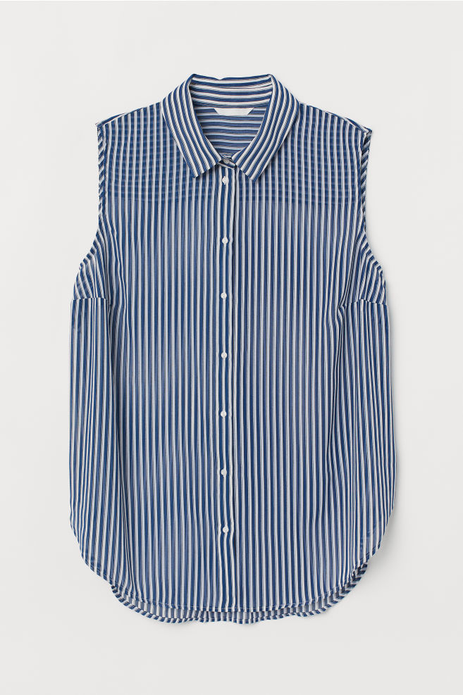 239115bbbf8cb H M+ Sleeveless blouse - Dark blue White striped - Ladies