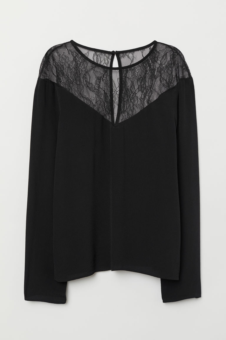 Top with Lace Yoke - Black - Ladies | H&M US