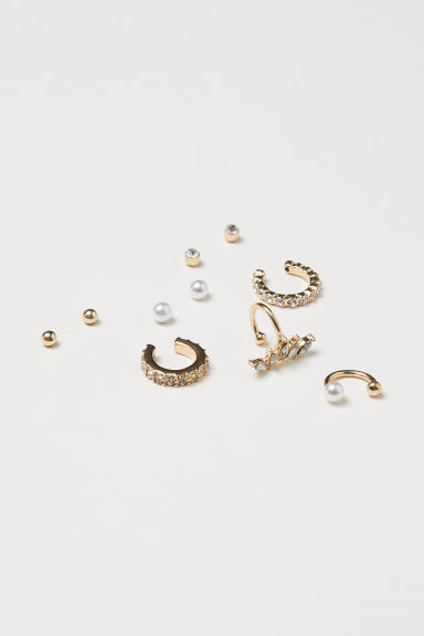 10-pack studs and ear cuffs - Gold-coloured - Ladies | H&M CN