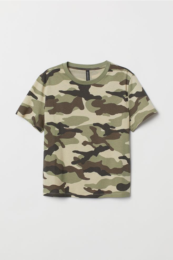 T-shirt i bomull - Khakigrön/Mönstrad - DAM | H&M SE 5