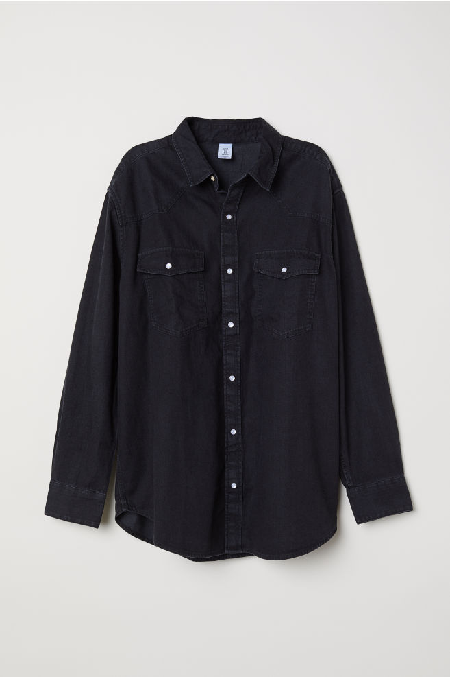 ade0dc8d143 Oversized denim shirt - Black - Ladies