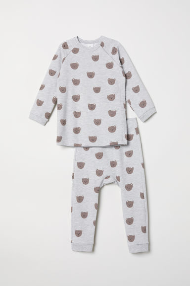 Top and trousers - Light grey marl/Bears - Kids | H&M CN