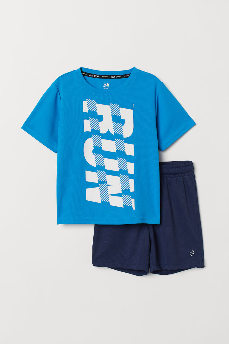 Sports top and shorts - Blue/Dark blue - Kids | H&M CN