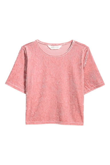 Crop top en velours - Rose vintage -  | H&M FR