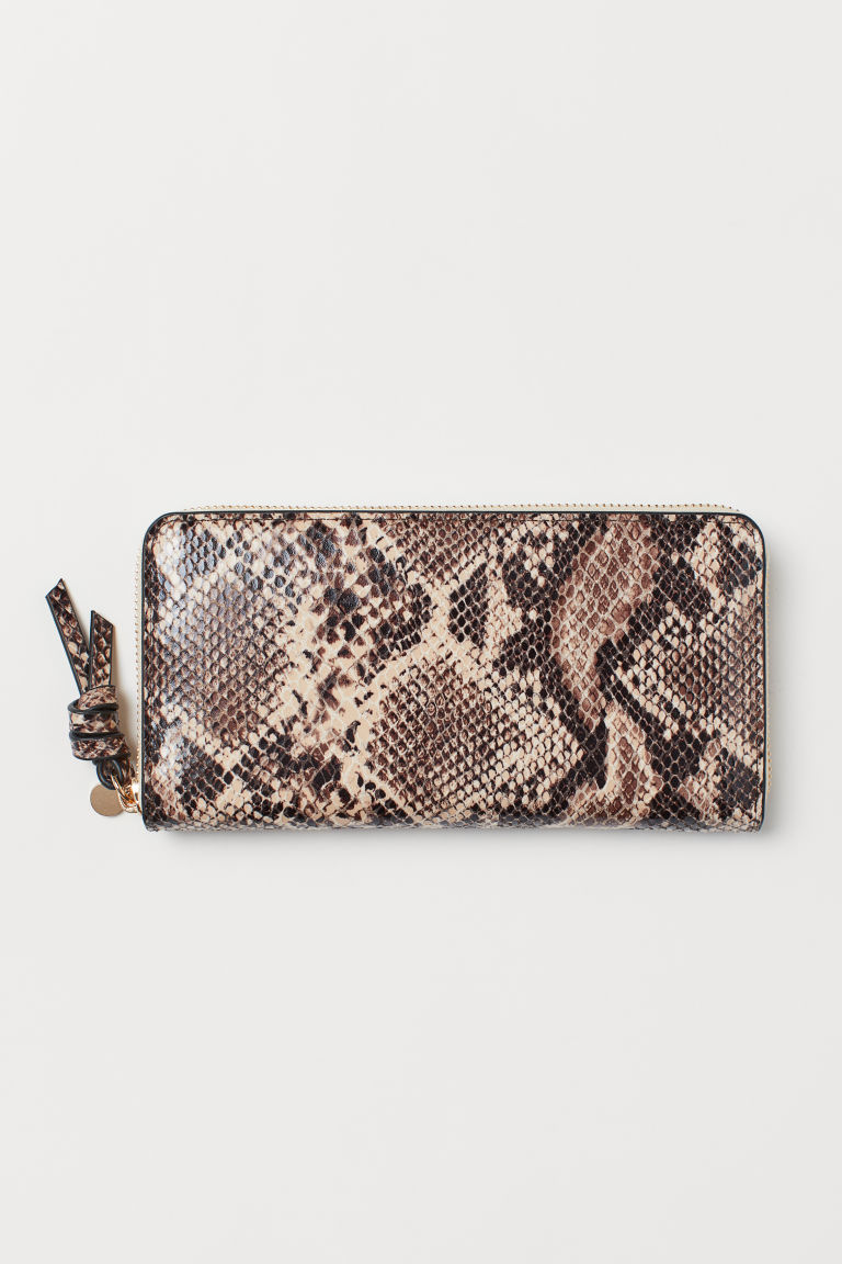 Large Wallet - Powder beige/snakeskin pattern - Ladies | H&M CA