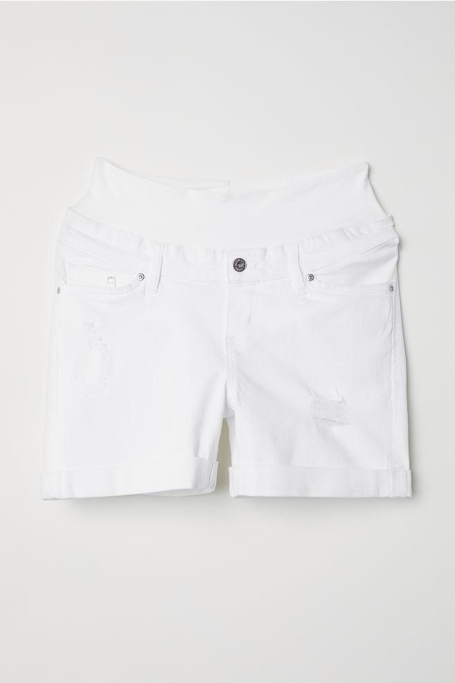4542aa9eaa743 MAMA Boyfriend Denim Shorts - White denim - Ladies | H&M ...