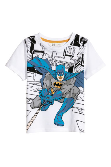 Printed T-shirt - White/Batman - Kids | H&M CN