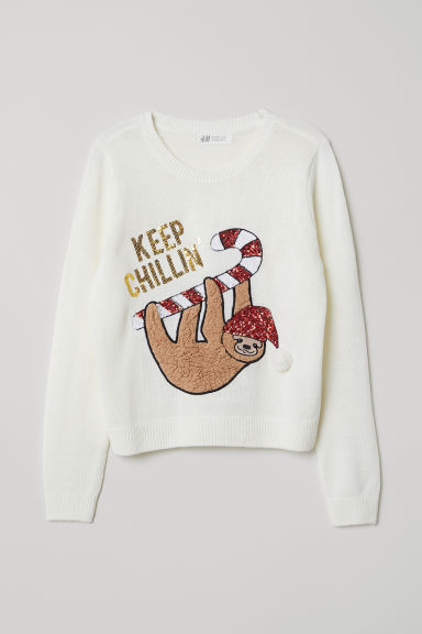 Knit Sweater - Natural white/Keep Chillin' - Kids | H&M US