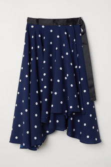 Wide wrapover skirt