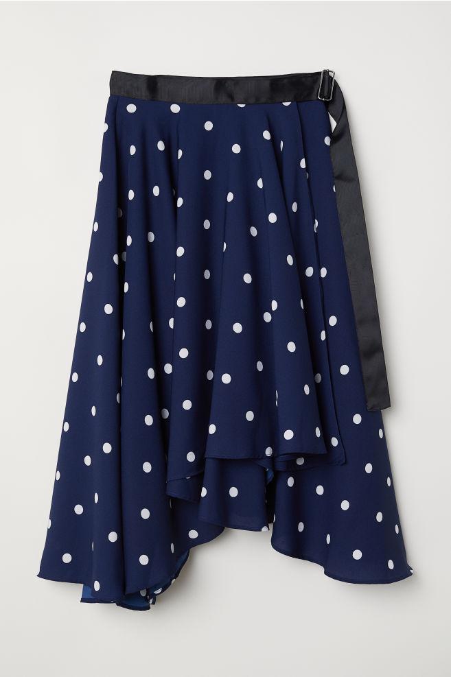 9cc923a45e Falda cruzada amplia - Azul oscuro Lunares blancos - MUJER