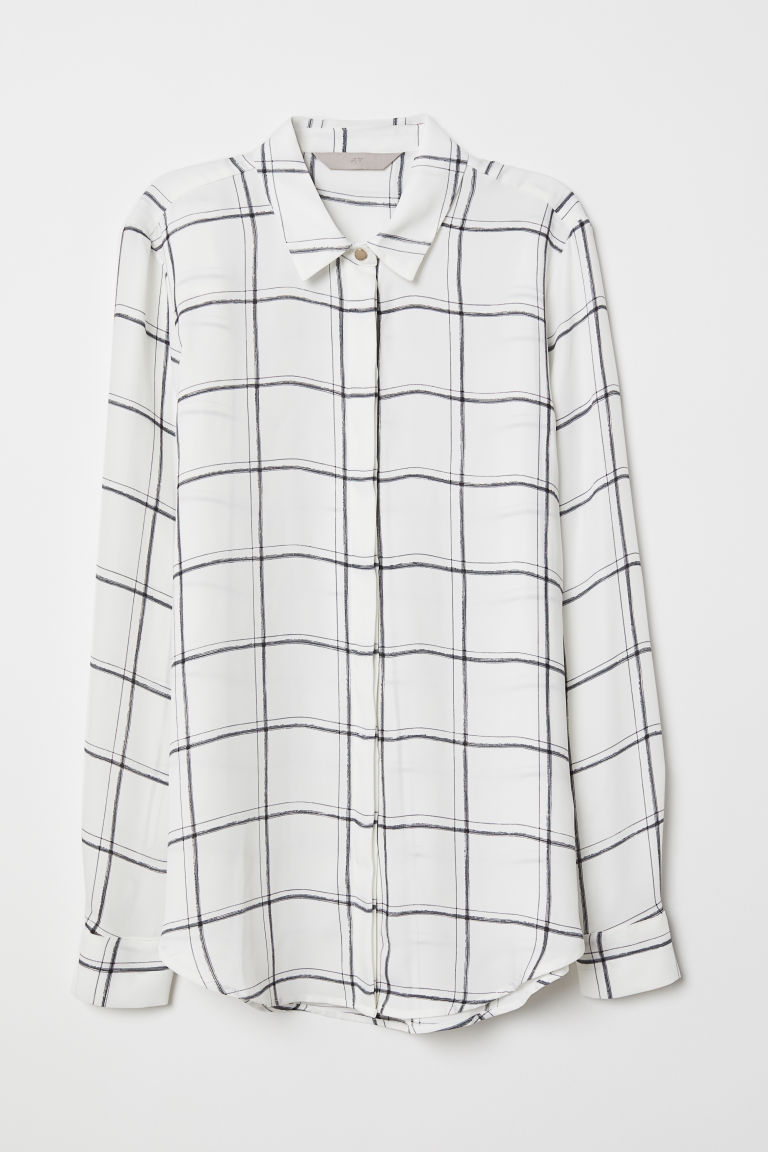 Long-sleeved blouse - White/Checked - Ladies | H&M CN