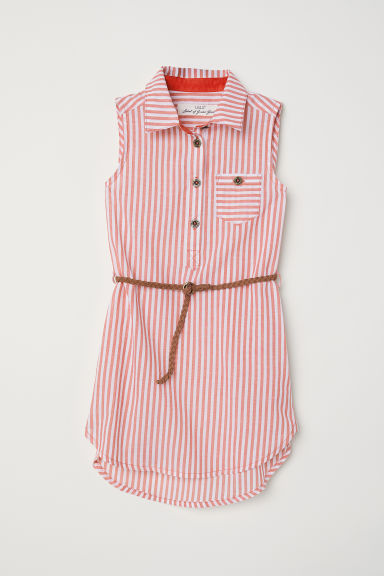 Sleeveless shirt dress - Light red/Striped - Kids | H&M