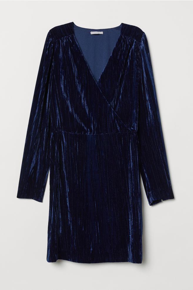 8d8088fae379 Crushed-velvet Dress - Dark blue - Ladies | H&M ...