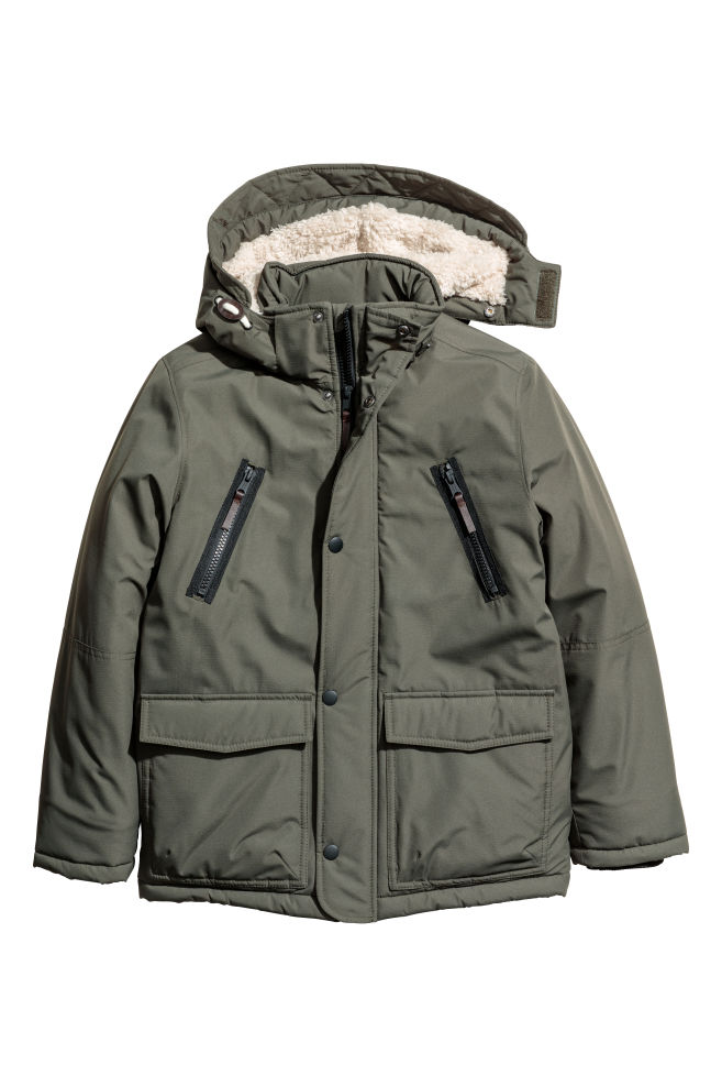 dda83c885891 Padded parka with a hood - Dark khaki green - Kids