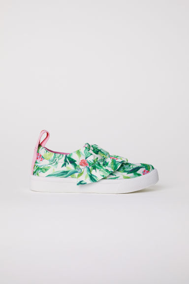 Slip-on sneakers - Wit/groen dessin - KINDEREN | H&M BE