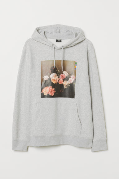 Printed hooded top - Light grey marl/New Order - Men | H&M GB
