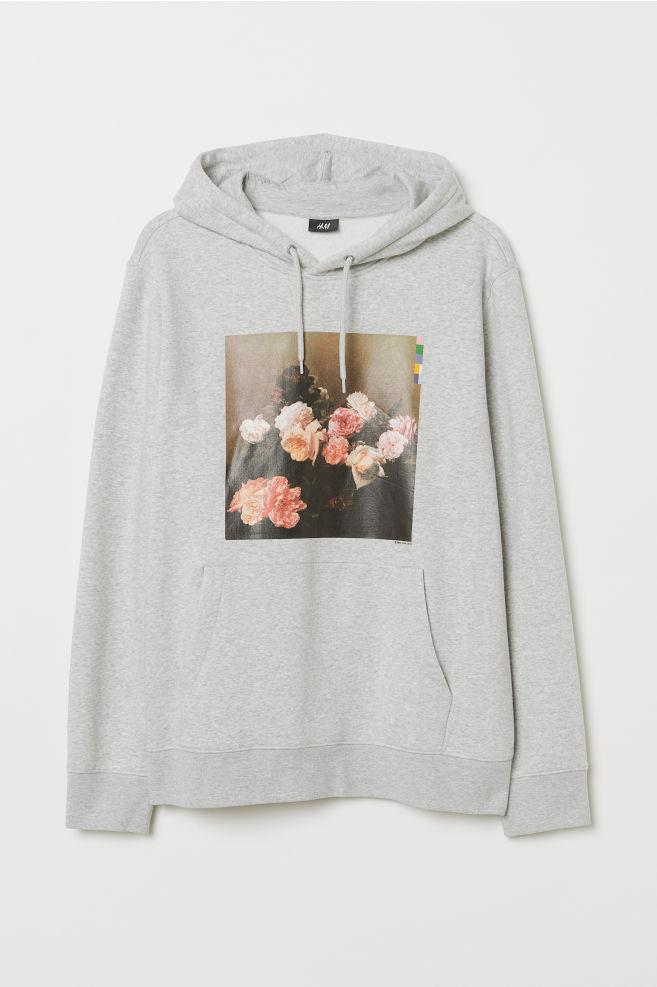 6a19bedd8f336 Printed Hooded Sweatshirt - Light gray melange/New Order - Men | H&M ...