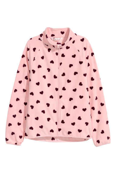 Fleece jacket - Pink/Hearts - Kids | H&M CN
