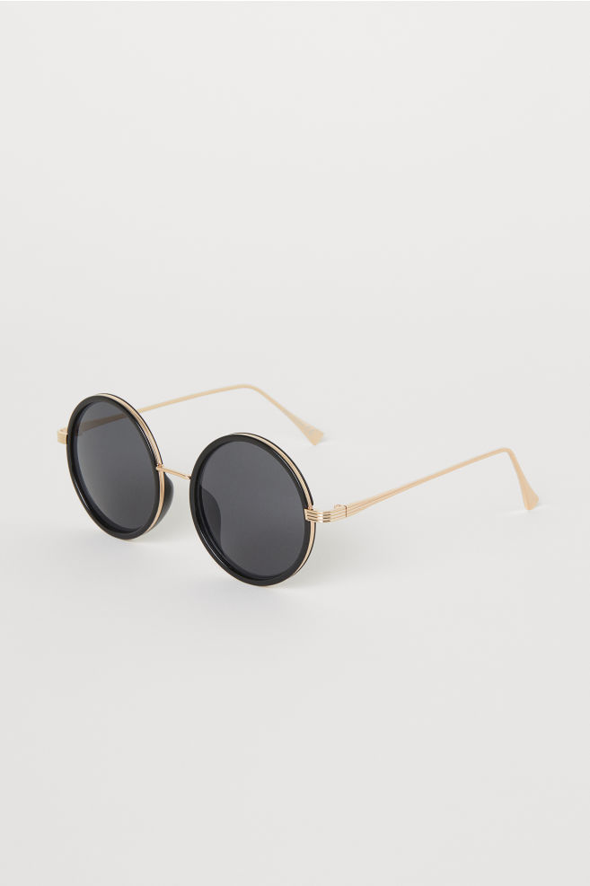 Runda solglasögon - Svart Guld -  155afe90e7885