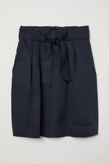 Skirt with a tie belt - Dark blue - Ladies | H&M