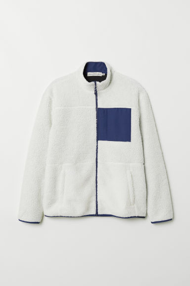 Pile top - White/Dark blue - Men | H&M