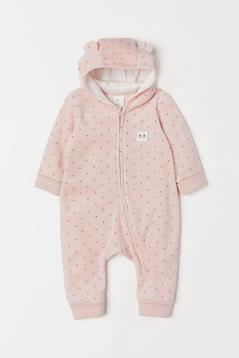 Velour all-in-one suit - Light pink/Cat - Kids | H&M CN