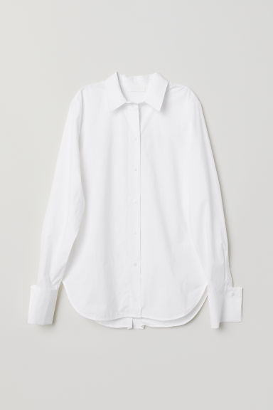 Cotton poplin shirt - White - Ladies | H&M CN