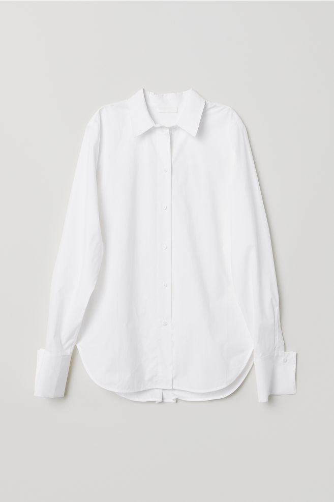 94a25df9e Cotton Poplin Shirt - White - Ladies | H&M ...