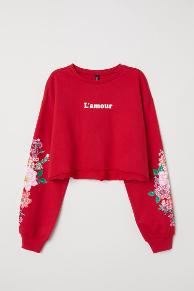 Cropped sweatshirt - Red/L'amour - Ladies | H&M