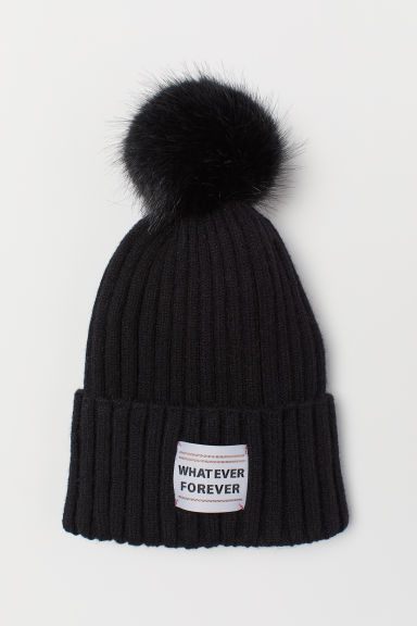 Knitted hat - Black/Whatever Forever - Kids | H&M CN