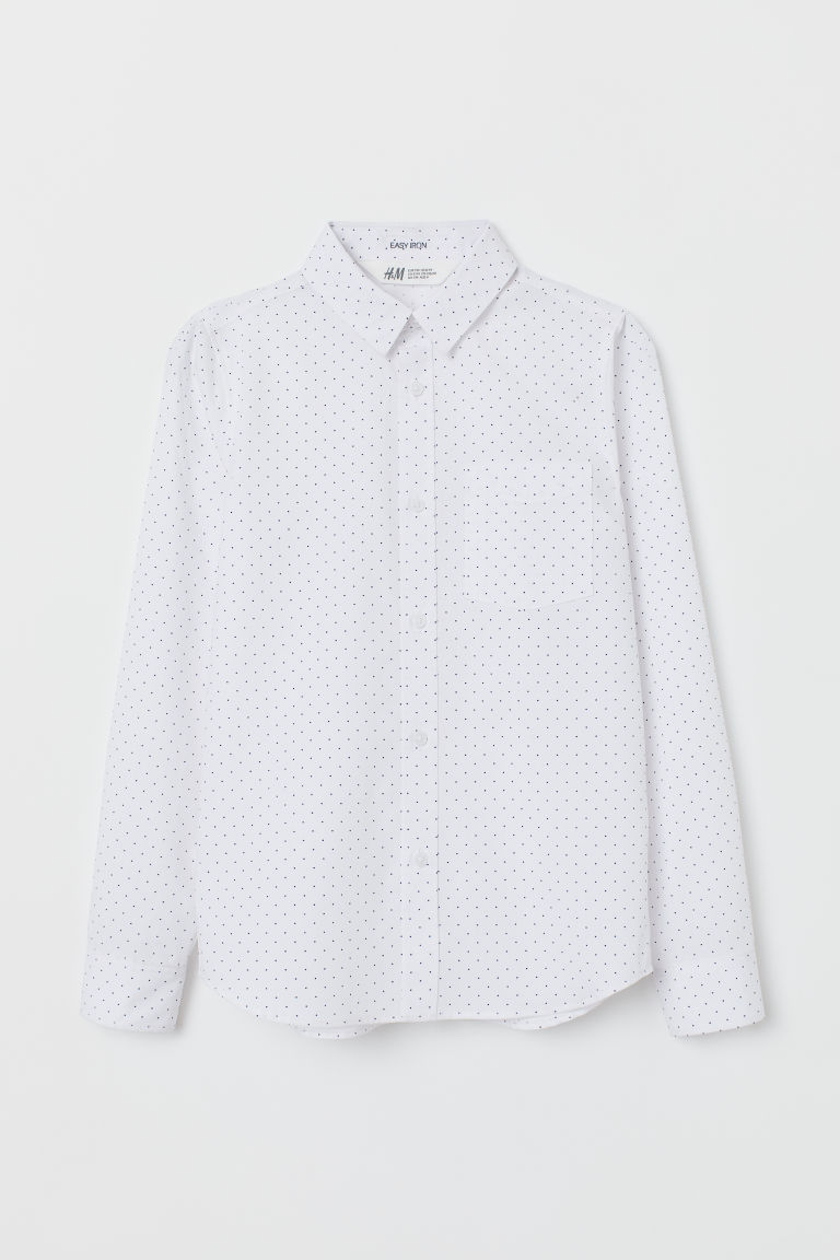 Easy-iron shirt - White/Blue spotted - Kids | H&M CN