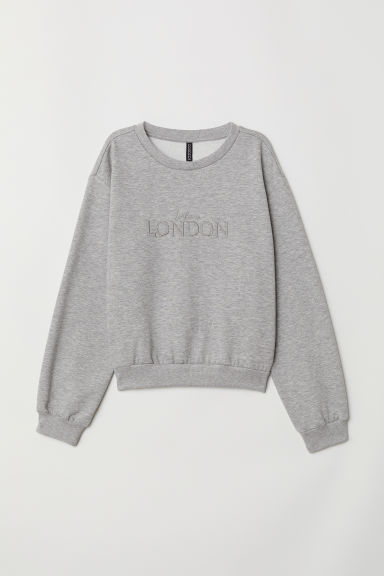 Short sweatshirt - Grey marl/London -  | H&M