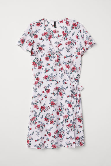 Patterned wrap dress - White/Floral - Ladies | H&M CN