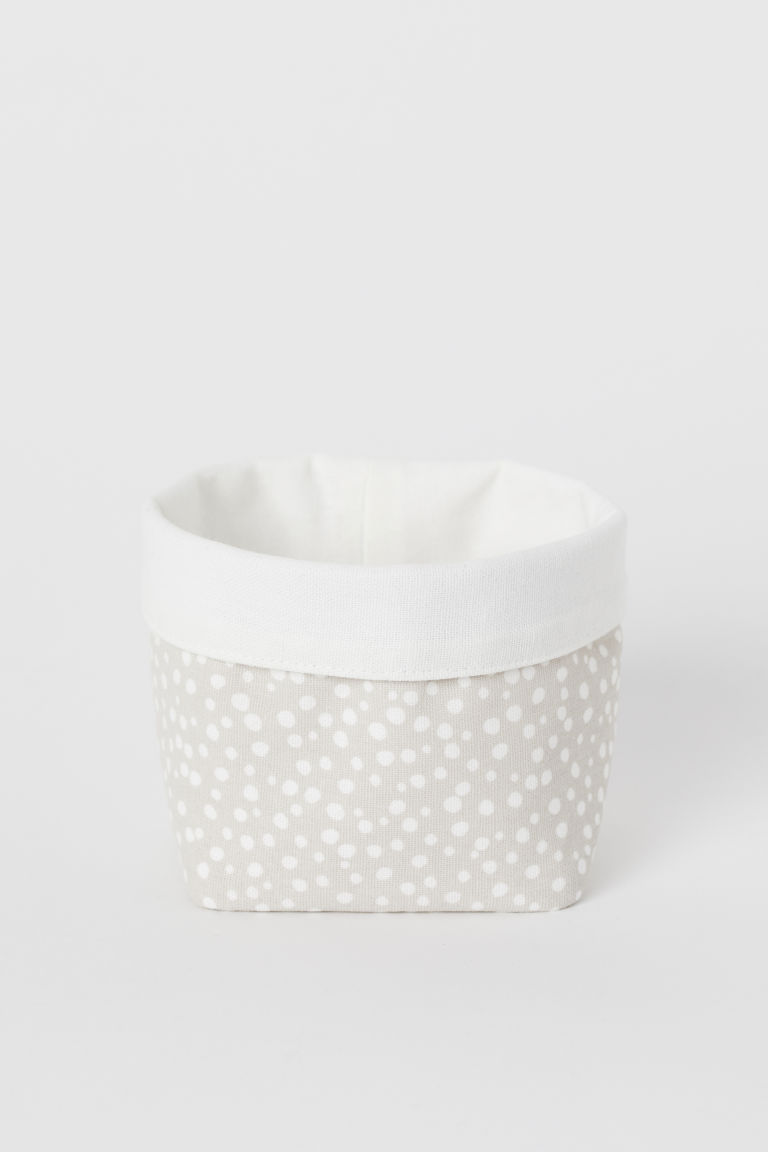 Small Canvas Storage Basket - Light taupe/dotted - Home All | H&M CA