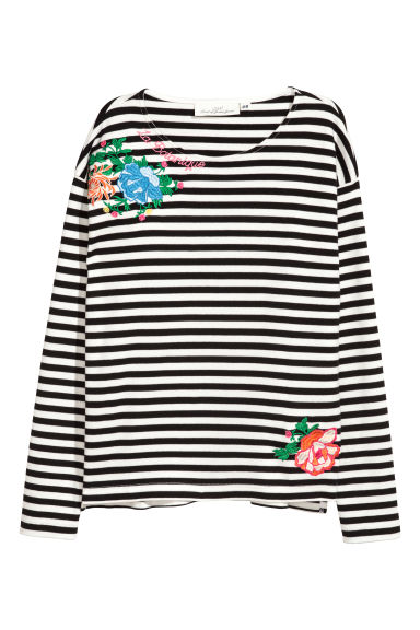 Jersey top with embroidery - Black/White striped -  | H&M