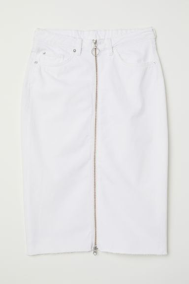Knee-length denim skirt - White denim -  | H&M