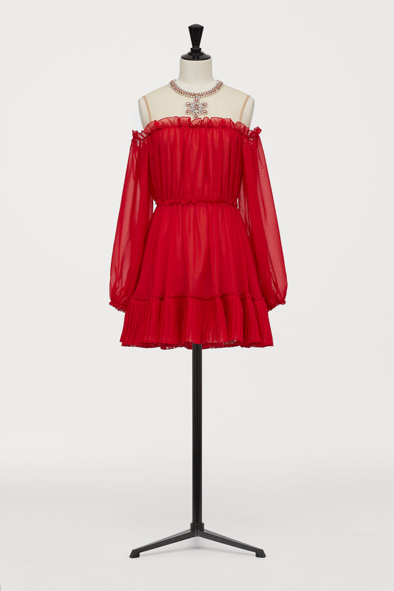 Cold shoulder dress - Red - Ladies | H&M CN