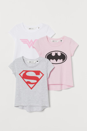 3-pack printed jersey tops