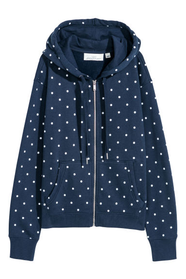 Hooded jacket - Dark blue/White spotted -  | H&M GB