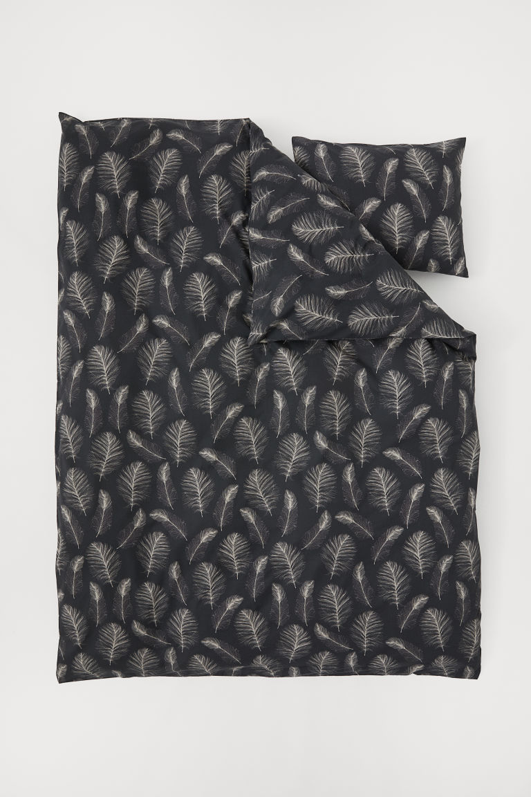 Patterned duvet cover set - Dark grey/Feathers - Home All | H&M CN