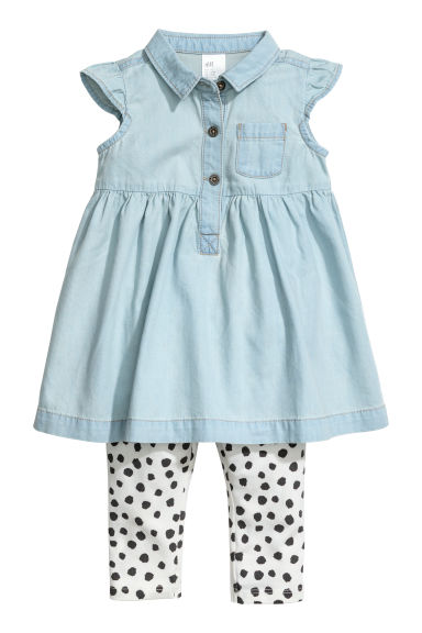 Denim dress and leggings - Light denim blue - Kids | H&M
