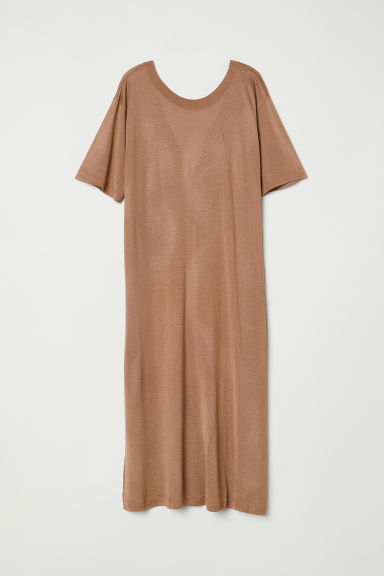 Fine-knit dress - Dark beige - Ladies | H&M