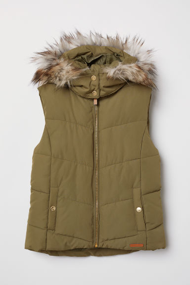 Padded gilet - Khaki green - Kids | H&M CN